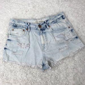 Bullhead | Light Blue High Rise Jean Shorts 7
